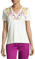 Etro Floral-Embroidered V-Neck Tee, Ivory
