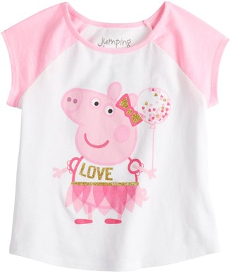 """Peppa Pig Toddler Girl Jumping Beans Love"""" Graphic Tee"""