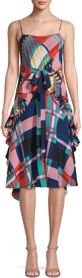 Diane von Furstenberg Printed Silk A-Line Dress