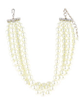 Kenneth Jay Lane Four-Row Pearly Choker Necklace, White