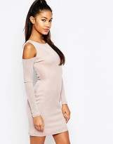 Lipsy Ariana Grande For Cold Shoulder Deep Plunge Mini Dress