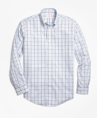 Brooks Brothers Non-Iron Madison Fit Triple-Color Windowpane Sport Shirt