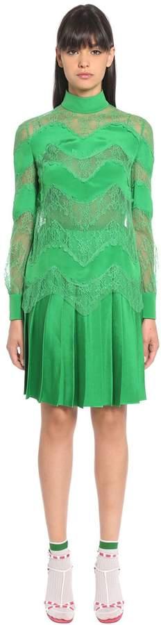 Valentino Lace & Silk Twill Dress