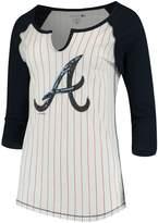 New Era Women's 5th & Ocean by White/Navy Atlanta Braves Pinstripe 3/4-Sleeve Notch Neck Raglan T-Shirt