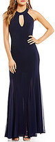 Jump High Keyhole Neck Open Beaded Drape-Back Long Dress