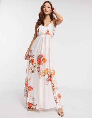 ASOS DESIGN cami plunge maxi dress with blouson top in floral print