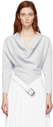 Proenza Schouler Grey Belted Cowl Neck Blouse