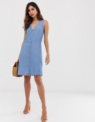 Vero Moda button front mini dress-Blue