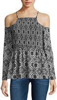 Decree Long Sleeve Square Neck Pattern Blouse-Juniors