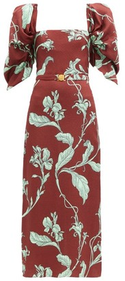 Johanna Ortiz Rayo De Esperanza Belted Floral Jacquard Dress - Brown Multi