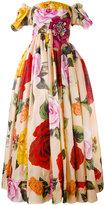 Dolce & Gabbana rose print bardot gown - women - Silk/Cotton/Polyamide/Virgin Wool - 40