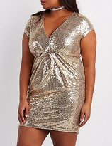 Charlotte Russe Plus Size Sequin V-Neck Bodycon Dress