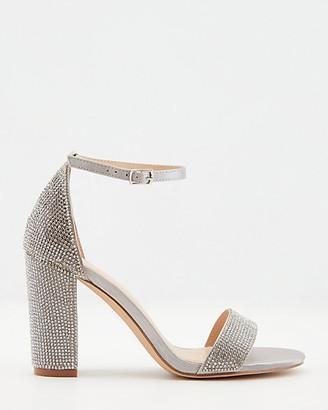 Le Château Jewel Embellished Satin Block Heel Sandal
