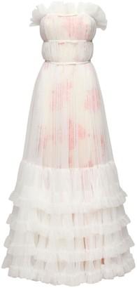 Giambattista Valli Long Ruffled Tulle Dress