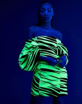 Asos Design DESIGN glow in the dark animal puff off shoulder sleeve bodycon mini dress