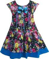 Sunny Fashion HC35 Girls Dress Halloween Dark Color Flower Bow Tie