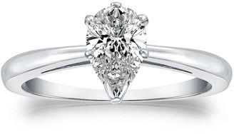Auriya 14k Gold 1/4ctw Pear Shape Solitaire Diamond Engagement Ring