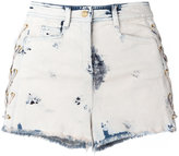 Balmain bleached lace-up denim shorts - women - Cotton/Spandex/Elastane - 34