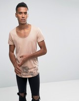 Jack and Jones Longline T-Shirt With Curved Hem In Smoke Print