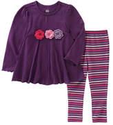 Kids Headquarters Purple Floral Tunic & Stripe Leggings - Infant, Toddler & Girls
