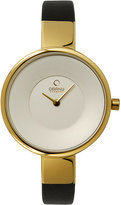 Obaku Ladies' Yellow Gold Plated & Black Leather Watch