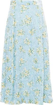 Miu Miu Velvet Floral Print Midi-Skirt