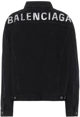 Balenciaga Logo embellished denim jacket