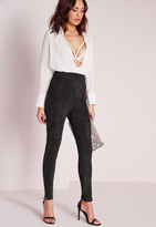 Missguided Faux Suede High Waist Skinny Pants Black