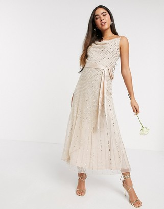 Amelia Rose Bridesmaid embellished cami midi dress in rose gold