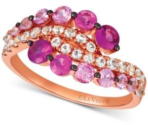 LeVian Le Vian Strawberry Layer Cake Multi-Gemstone Ring in 14k Rose Gold