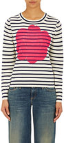 Comme des Garcons Women's Floral & Striped Sweater-IVORY, NAVY, PINK, TAN