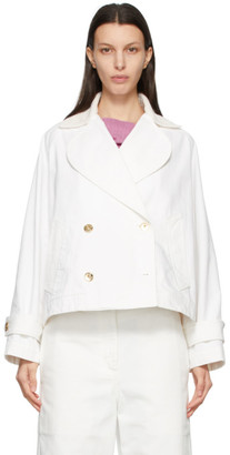 Lanvin White Denim Gold Button Double-Breasted Jacket