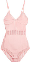 Balmain Striped Tulle-paneled Stretch-jersey Bodysuit - Pastel pink
