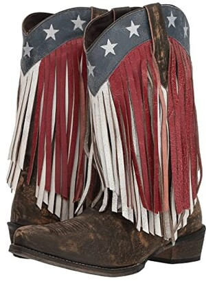 Roper American Beauty Fringe (Sanded Brown Leather/Red & White Fringe) Cowboy Boots