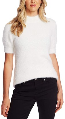 CeCe Short Sleeve Mock Neck Eyelash Sweater (Antique White) Women's Clothing