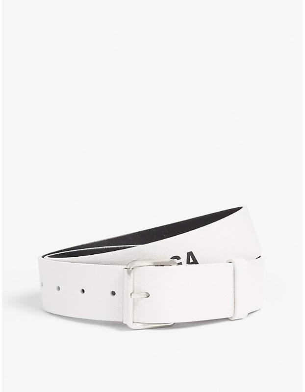 Balenciaga White and Black Baltimore Logo-Print Leather Belt