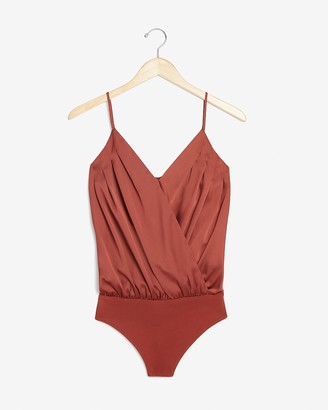 Express Satin Pleated Wrap Front Thong Bodysuit