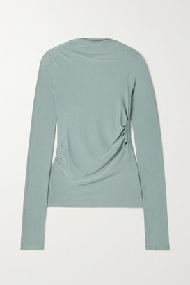The Line By K Selma Ruched Stretch-micro Modal Top - Gray green