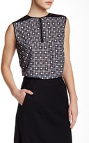 L.A.M.B. Sleeveless Printed Blouse With Tulle