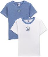 Petit Bateau Set of 2 boys plain/milleraies-striped t-shirts