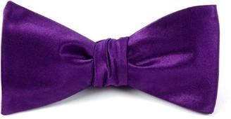 Tie Bar Solid Satin Plum Bow Tie