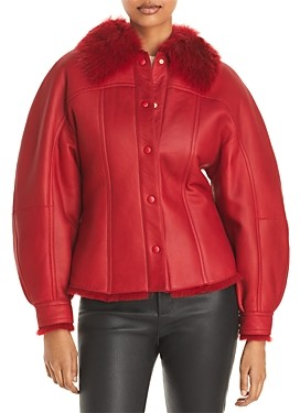 Alberta Ferretti Leather Shearling Coat