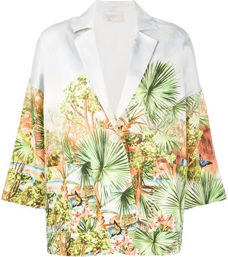 Altea Palm-Print Single-Breasted Blazer