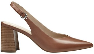 Marc Fisher Zania Stacked Heel Leather Slingback Pumps