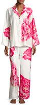 Natori Peony Satin Printed Pajama Set, White Pattern
