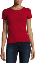 Neiman Marcus Cashmere Short-Sleeve Pullover Top, Red