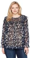 Lucky Brand Women's Plus Size Ruffle Floral Top