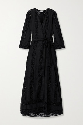 Miguelina Lucinda Cotton Guipure Lace Robe - Black