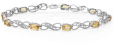 Ice 3 4/5 CT TW Sterling Silver Citrine and Round Cut White Diamond Tennis Bracelet
