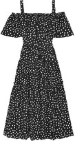 Dolce & Gabbana Off-the-shoulder Polka-dot Cotton-blend Dress - Black